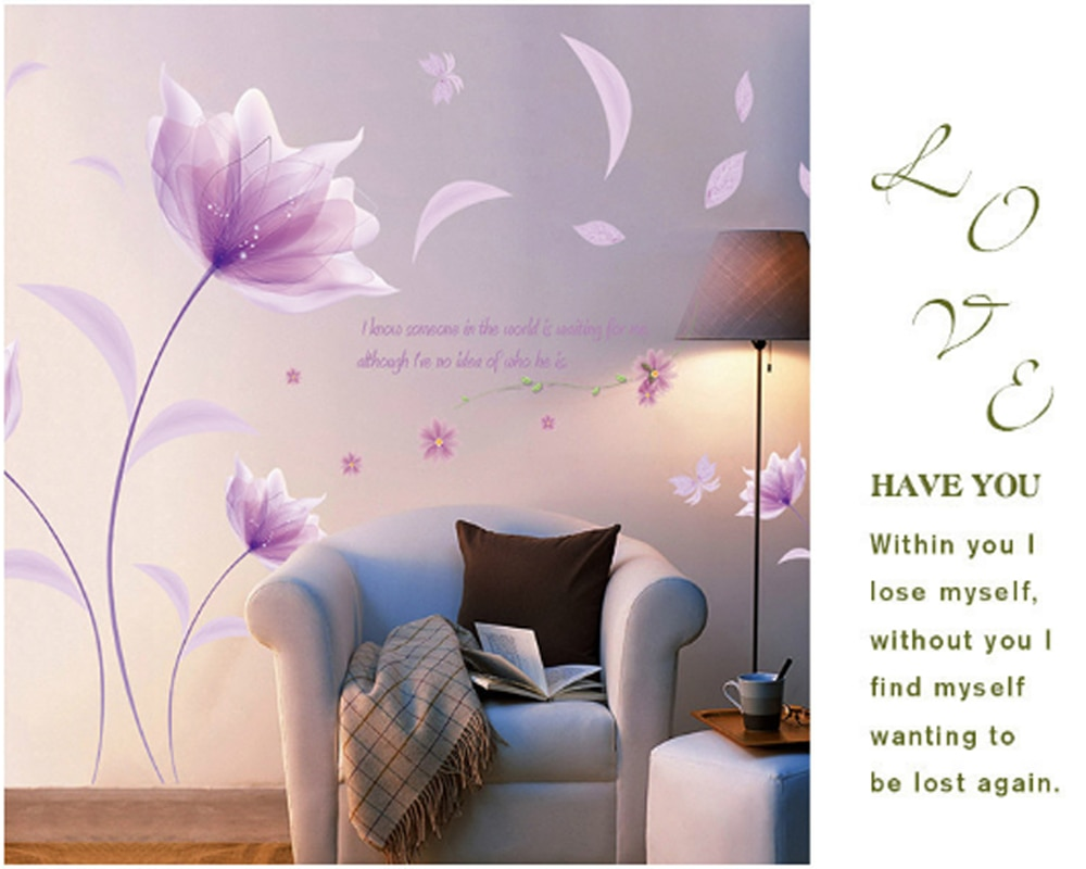 Pegatina de pared de amor romántico púrpura flores dormitorio para decoración del hogar arte calcomanías de fondo pegatinas de papel tapiz Decoración
