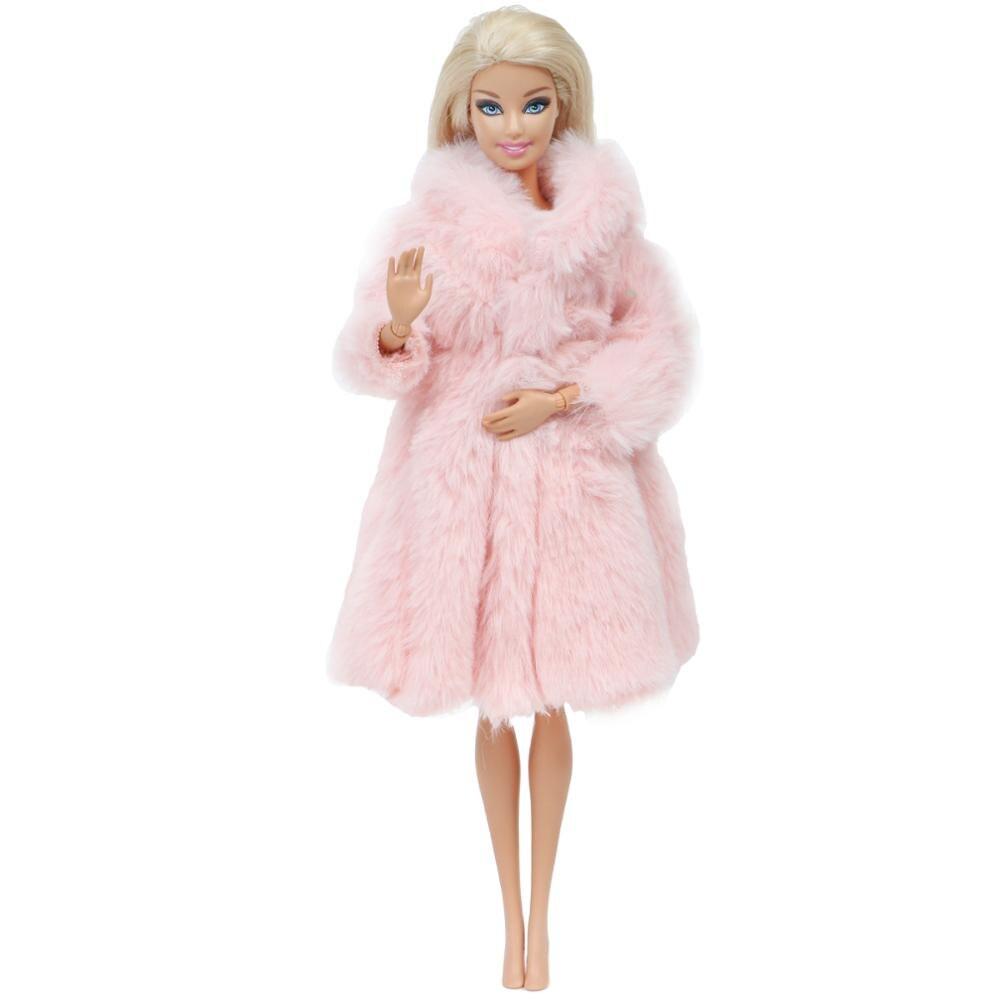 Abrigo rosa de alta calidad, Vestido de manga larga, traje hecho a mano, abrigo cálido de invierno, ropa de princesa para Barbie, accesorios para muñecas de juguete