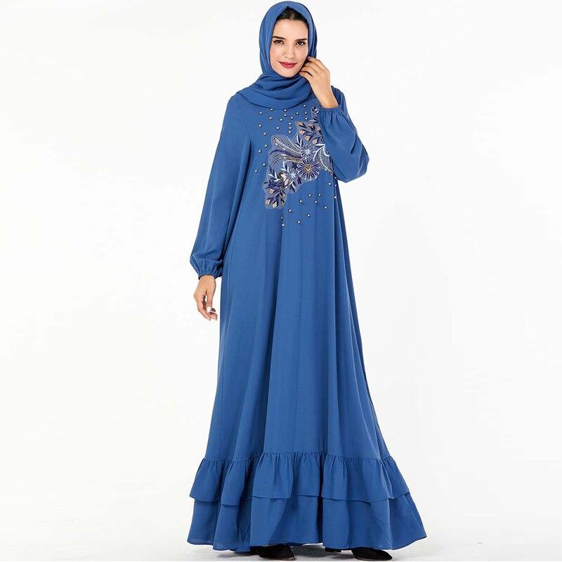 عباية زرقاء دبي التركية الحجاب فستان مسلم عبايات للنساء قفطان ماروكين قفطان ملابس إسلامية Tesettur Elbise الإسلام رداء