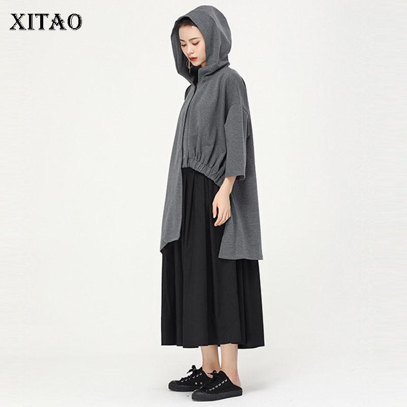 XITAO-جاكيت بغطاء للرأس بطيات للنساء ، معطف مقاس كبير ، سحاب ، تسعة نقاط كم ، أنيق ، غير رسمي ، معطف خريفي ZLL4329
