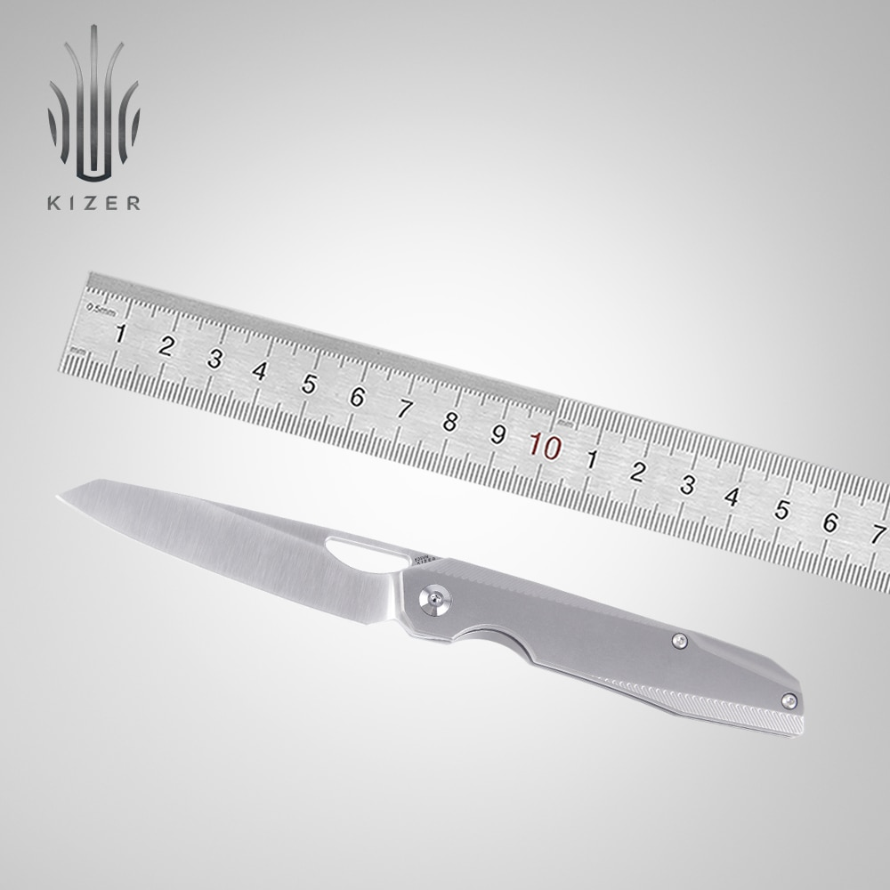 Kizer-سكين تكتيكي بمقبض من التيتانيوم وألياف الكربون ، KI4545A1/A2 genie 2020 ، قادم جديد ، بشفرة فولاذية s35vn