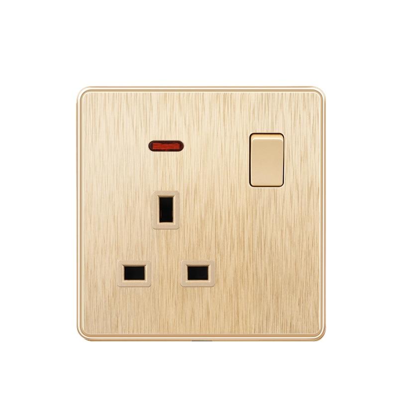 Toma eléctrica de pared para el hogar estándar del Reino Unido 13A, enchufe de salida Adpter, AC 110-250V, panel plástico ignífugo, oro