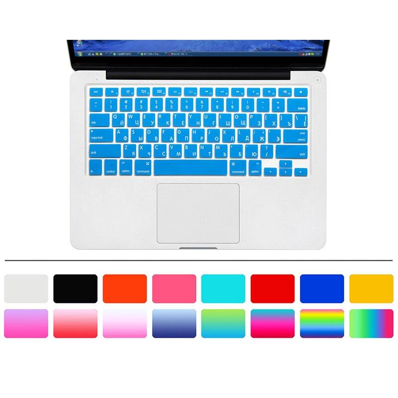 Protector de pantalla de teclado ruso de 10 colores para Macbook Air Pro Retina 13 pulgadas cubierta de piel de portátil para Mac book funda de Gel