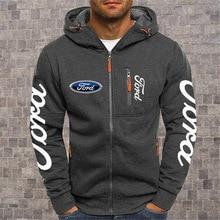 2020NEW Men's Hoodies Ford Mustang Car Logo Print Casual HipHop Black Hooded Fleece Sweatshirts Zipp