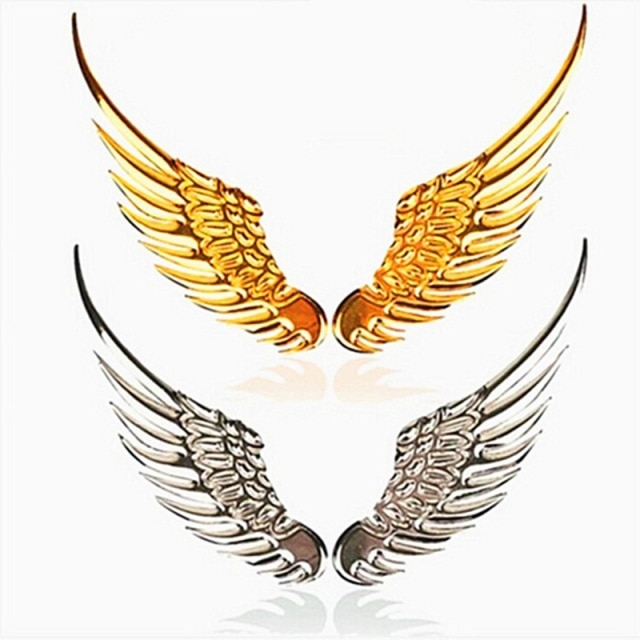 2 Pcs Car Auto Motorcycle Body Sticker 3D Eagle Angel Wings Badge Style Metal Aluminum Decals Silver/Gold Exterior Accessories