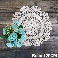 round 25cm white cotton coffee mug table coaster crochet floral dish pad bow mat wedding doily christmas home tablecloth decor