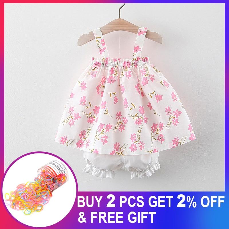Conjuntos de roupas para meninas do bebê 2020 recém-nascido da criança menina estilingue verão cereja crianças pôr do sol colete + curto 2 pçs conjunto sunsuit