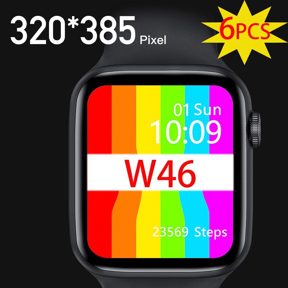 6PCS IWO W46 Smart Watch IP68 Waterproof Bluetooth Wireless Charging ECG Heart Rate Sport Men Women Smartwatch