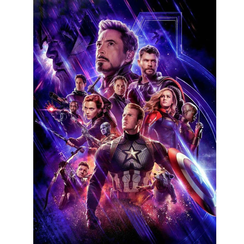Taladro redondo completo 5d Diy pintura de diamante vengadores Infinity War Marvel mosaico 3d diamante bordado superhéroe venta pegatinas de pared