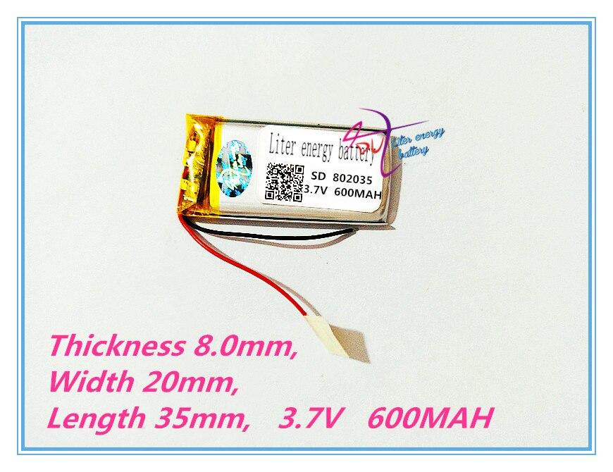 Batería de energía de litro 3,7 V batería de tableta 802035 3,7 V 600MAH MP3 MP4 caja de pluma de grabación pequeños paneles de instrumentos