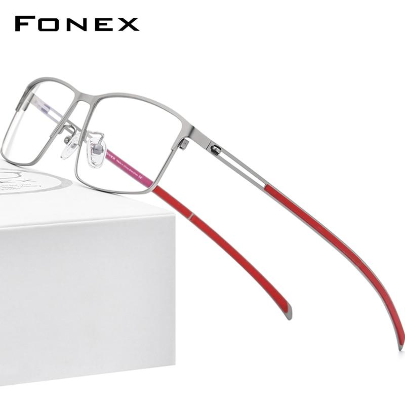 إطار نظارات من سبائك التيتانيوم من FONEX للرجال 2021 مربع وصفة طبية نظارات لقصر النظر إطارات نظارات بدون مسامير كورية F1010
