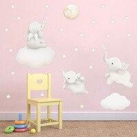 Милые Мультяшные звезды облако наклейки на стену слон животные наклейки детская комната украшение в нордическом стиле детская виниловая н...