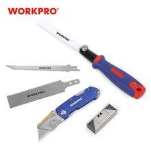 Couteau pliant WORKPRO couteau utilitaire coupe-câble 3 en 1 scie combinée scie à changement rapide avec lames