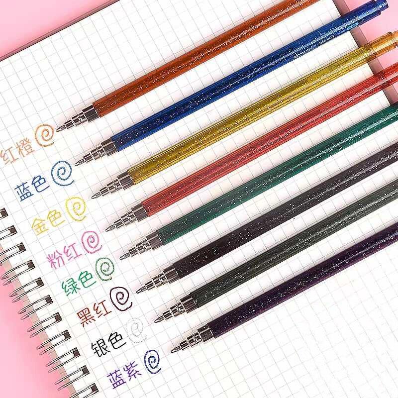 Juego de 8 colores de pluma con brillo, bolígrafo de Gel de tinta de 1,0mm, marcadores rotuladores permanentes DIY para regalo para estudiante infantil, suministros de oficina y escuela