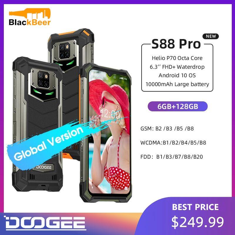 IP68/IP69K DOOGEE S88 Pro Rugged Mobile Phone 6.3 Inch 10000mAh Smartphone Helio P70 Octa Core Telephone 6GB+128GB Android 10.0