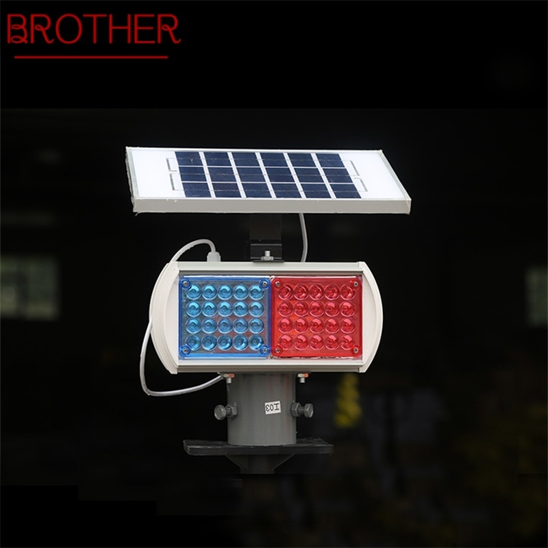 BROTHER Solar Warning Lights Aluminum LED Strobe Flashing Light  Double Side Red And Blue Signal light