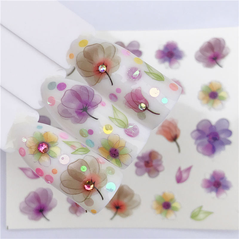 YWK Water Nail Art Transfer Nail Stickers Water Decals Beauty Flower Nail Design Manicure Stickers for Nails Decorations Tool all 3d laser holographic nail stickers for nails manicure nail art decals stickers decor decorations things