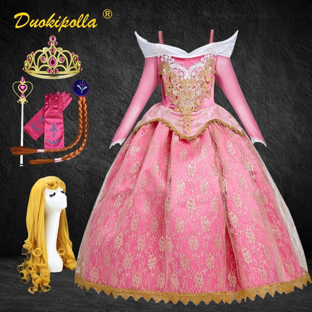 Sleeping beleza halloween carnaval traje criança rendas meninas princesa aurora vestido rosa bordado infantil festa vestido peruca de cabelo