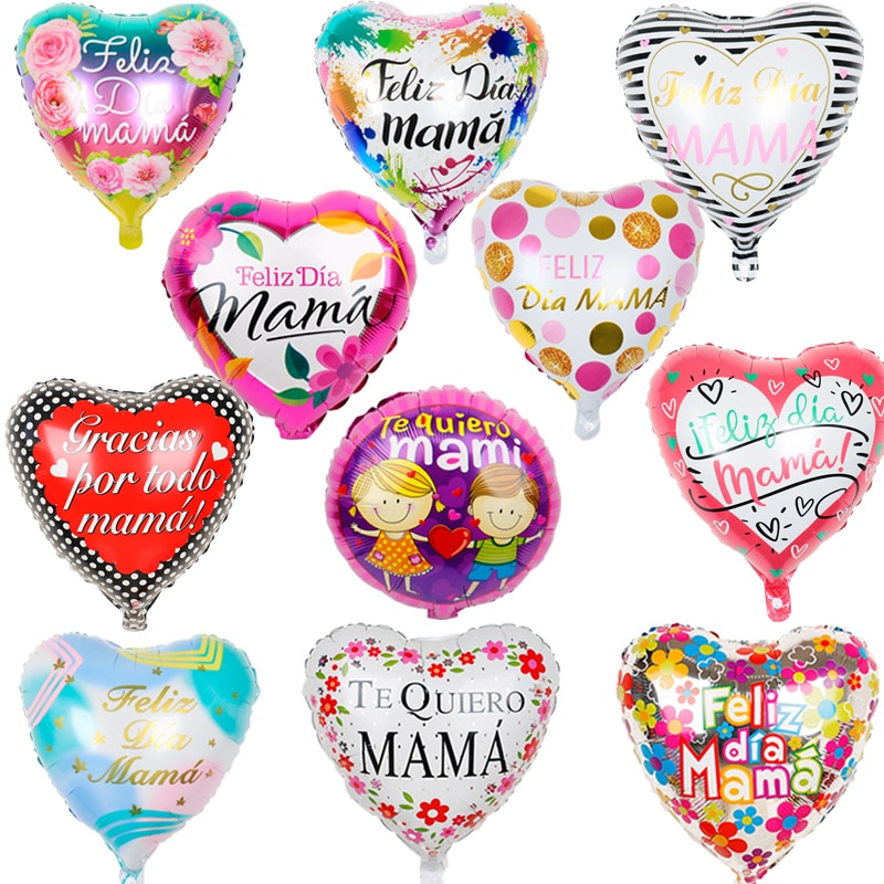 10cps/set Mama Foil Balloons 18inch Spanish Feliz dia Mama Mother's Day Birthday Party Decorations kids Quiero adultGlobos