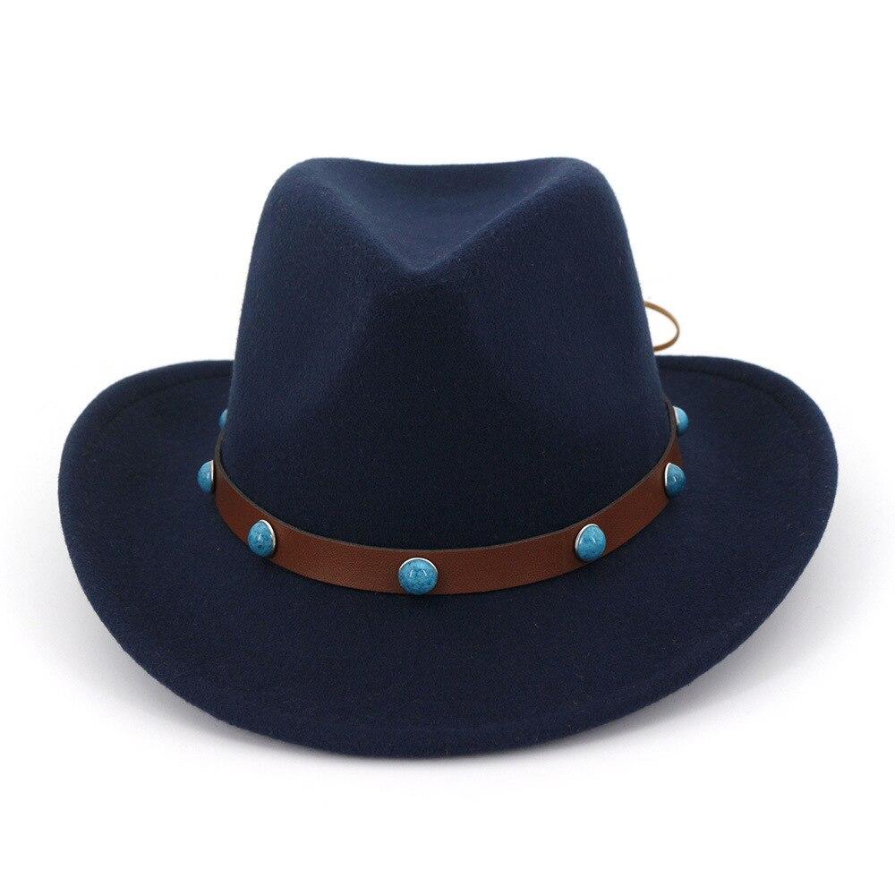 Sombrero de vaquero Panamá de fieltro de lana de ala ancha Sombrero de fieltro de Jazz Sombrero de fieltro con banda de cinturón de remache Sombrero Formal de Sombrero para hombres y mujeres