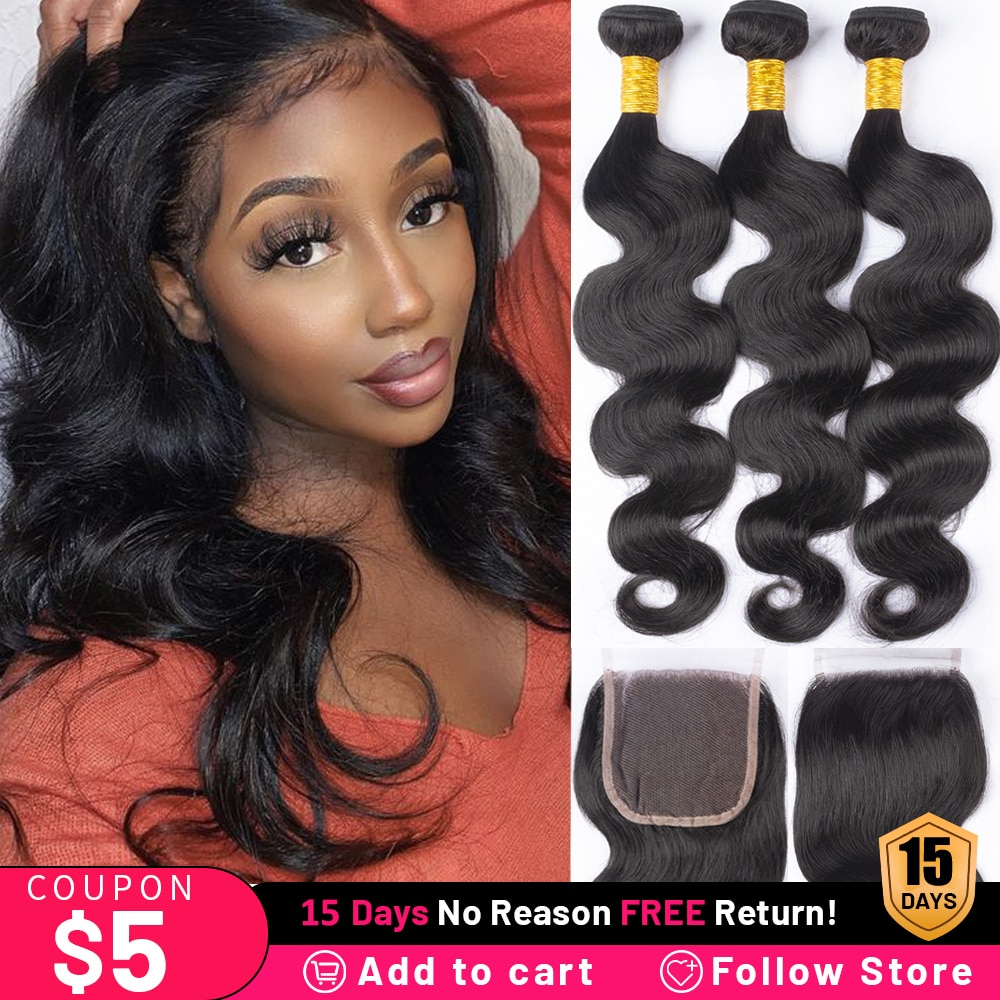 Malaysian Body Wave 3 Bundles With Closure Human Hair Bundles With Closure 4x4 Lace Closure Remy Human Hair Extension Odorless