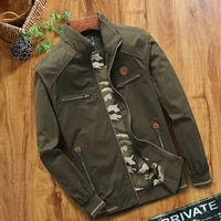 2021 new cotton mens jacket spring and autumn tooling stand up collar multi pocket casual jacket loose top coat