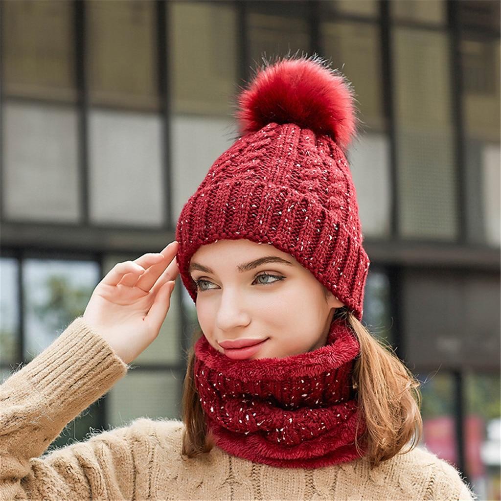 Gorras de lana a prueba de viento para mujer, actividades al aire libre de punto, bufandas cálidas, gorros, gorro de otoño e invierno, nueva moda