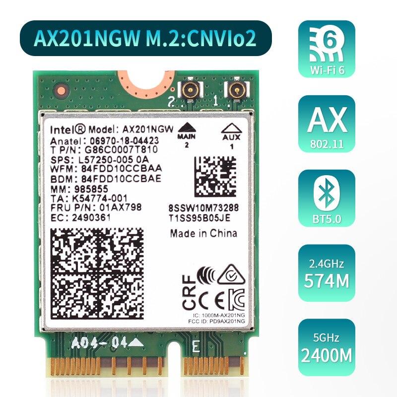 Wifi 6 Dual Band 2.4G/5 Ghz 2.4Gbps Bluetooth 5.0 Voor Intel AX201 Draadloze Adapter Ngff CNVio2 wifi Kaart AX201NGW 802.11ac/Ax