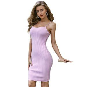 Ladies Sexy Rayon Women Summer Bandage Dress 2020 Celebrity Designer Fashion Party Dress Vestido