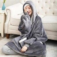 Толстовка Женская в стиле оверсайз, зимнее худи, Флисовое одеяло для телевизора с рукавами, пуловер, Свитшот оверсайз, Женская Толстовка