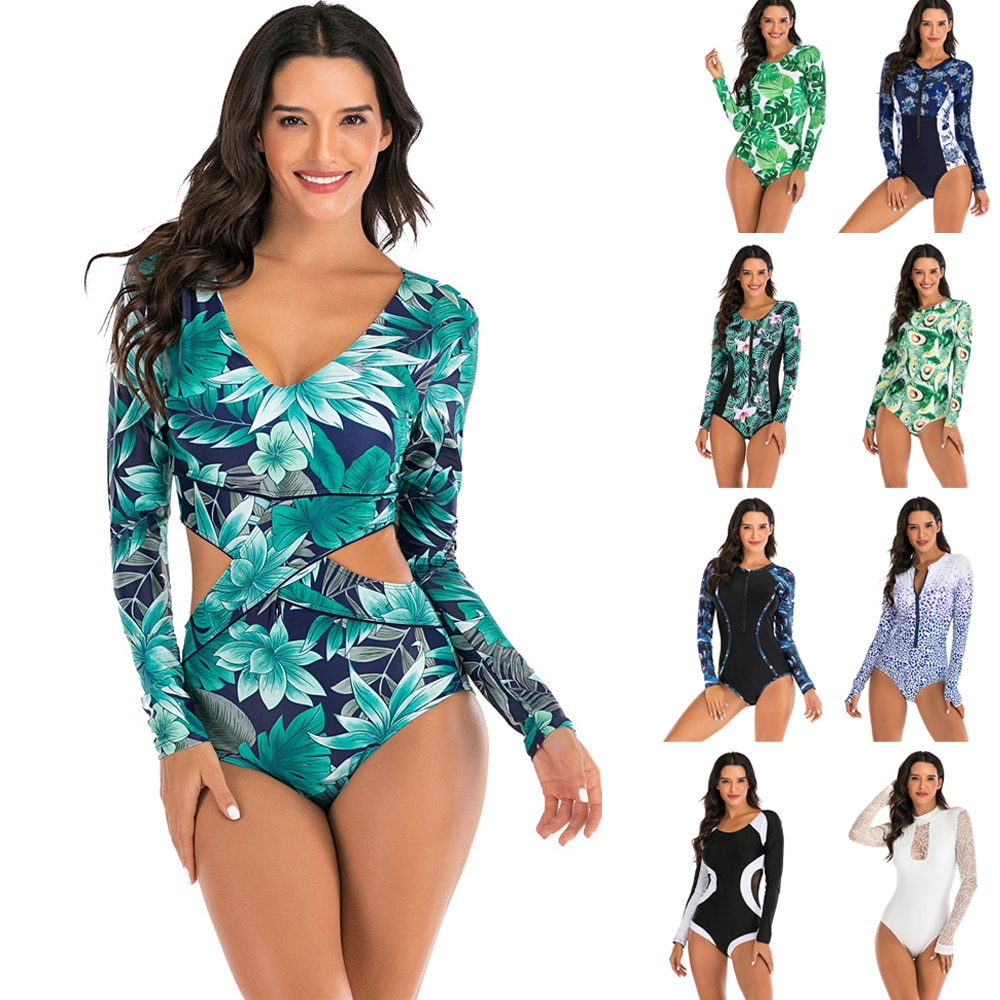 Traje de baño con estampado de manga larga para mujer, traje de baño de una pieza con efecto Push Up, traje de surf, traje de baño verde