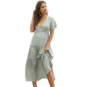 Floral Print Women's Clothing Long Dress Summer V-neck Short Sleeve Ruffle Dresses Female Elegant Vintage Bohemian Dress