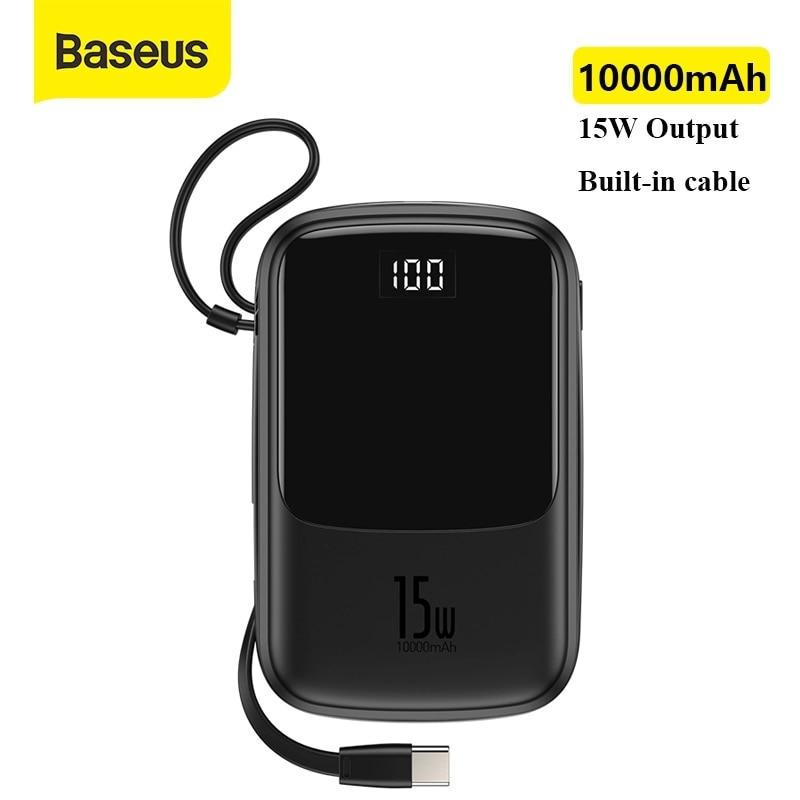 Baseus قوة البنك 10000mAh المدمج في نوع C كابل 3A 15 واط Powerbank شاحن الهاتف شاشة ديجيتال Poverbank شاحن محمول صغير