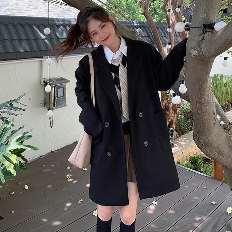 Autumn Korean 2021 Coat New Loose Medium Length Long Sleeve Double Breasted Popular Tweed Women's Fa