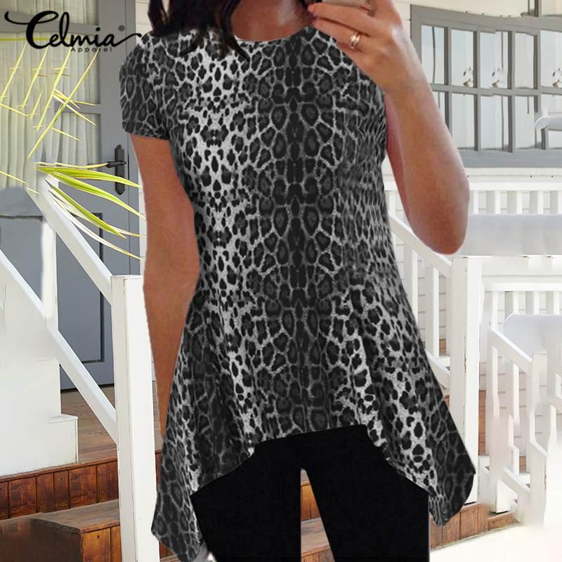 Celmia 2020 Summer Women Peplum Tops Short Sleeve Sexy Leopard Print Fashion Blouse Casual Tunic Shirts Plus Size Blusas Femme
