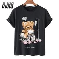 100 cotton wheelchair bandage bear print short sleeved t shirt female half sleeved summer casual oversized t shirt ladies shirt