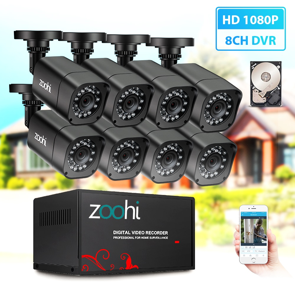 Zoohi câmera de segurança dvr kit ahd cctv sistema 8ch 720 p/1080 p cctv câmera à prova dwaterproof água ao ar livre casa sistema vigilância vídeo hdd