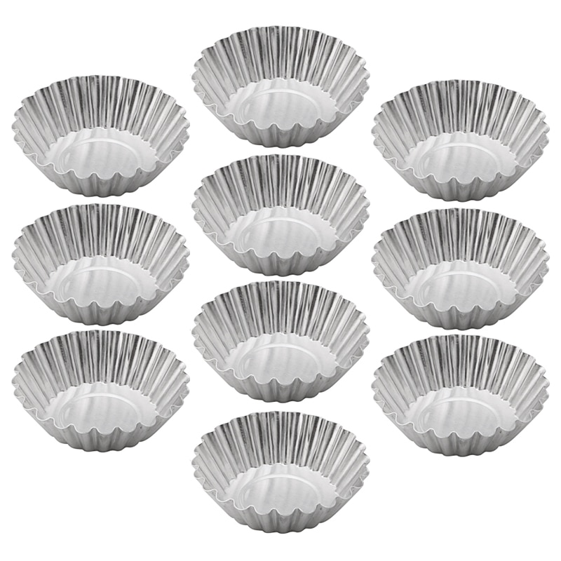 Backen Werkzeug 10PCS Ei Torte Aluminium Cupcake Cookie Kuchen Blume Form-Form Zinn