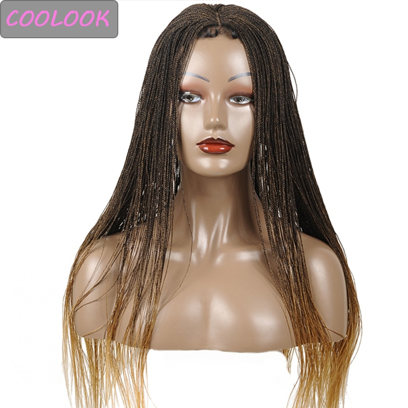 30 Inch Ombre Senegal Twist Braided Lace Front Wig with Baby Hair Heat Resistant Twisted Braids Lace Frontal Wig for Black Women