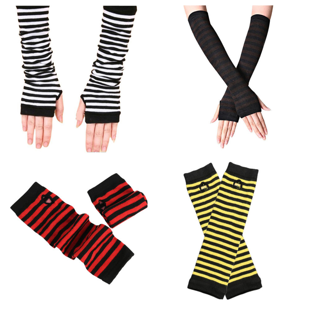 1 пара женской обуви длинные перчатки без пальцев мода полосатый локоть перчатки вязанные варежки рабочие перчатки