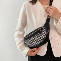 small womens fanny pack plaid leather waist bag chest shoulder crossbody luxury designer handbags female waist purses b725