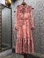 novia party 2021 autumn dress high quality women charming rose floral print ruffle patchwork long sleeve mid calf pink dress