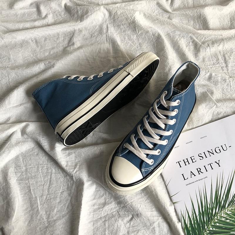 Women Chic Canvas Shoes Haze Blue Olive Green Unisex Sneakers Boys Girls Trainers Street Hip Pop Ska