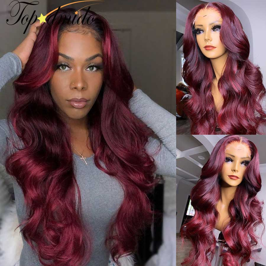 Topodmido Dark Red 99j Color Lace Front Wigs with Baby Hair Highlight 13x4 Human Hair Wigs Peruvian Remy Hair Lace Closure Wig