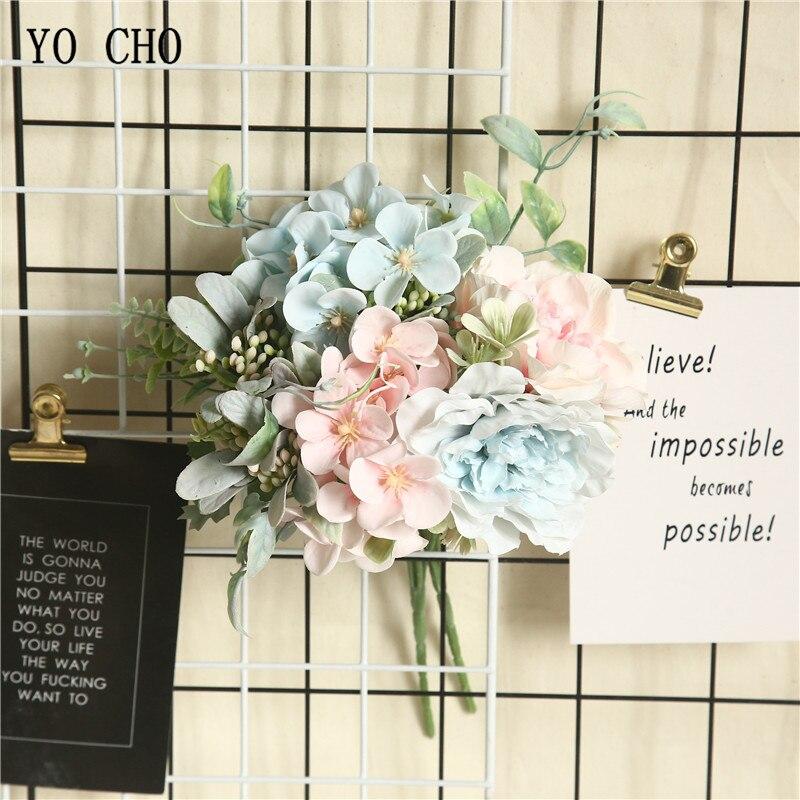 Ramo de flores YO CHO de Begonia, ramo de rosas de seda, peonía, ramo de flores para boda, hermana, Rosa Artificial, suministros de boda para dama de honor