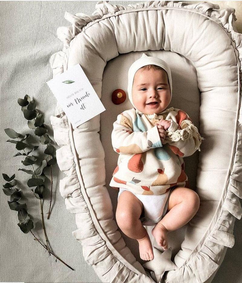 95x60cm Portable Baby Crib Infant Cradle Cot Newborn Nursery Travel Folding Baby Nest Bumper Baby Bed