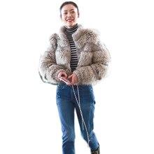 korean streetwear new 2019 winter jacket women parka real fur coat natural raccoon fur collar woolen coat bomber jacket