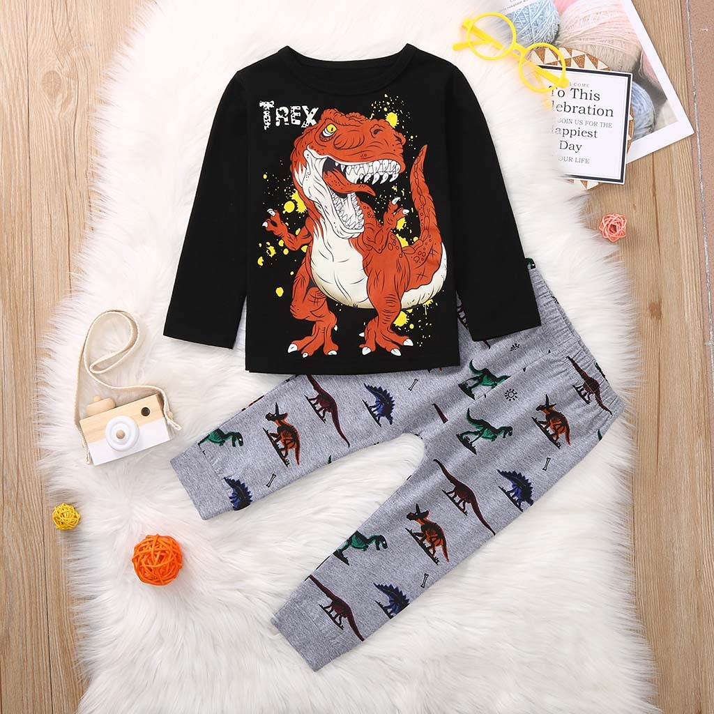 Boys Clothing Set Cartoon Dinosaur Long Sleeve T shirt Tops Pants Pajamas Sleepwear Children Clothes Outfit Set #G2