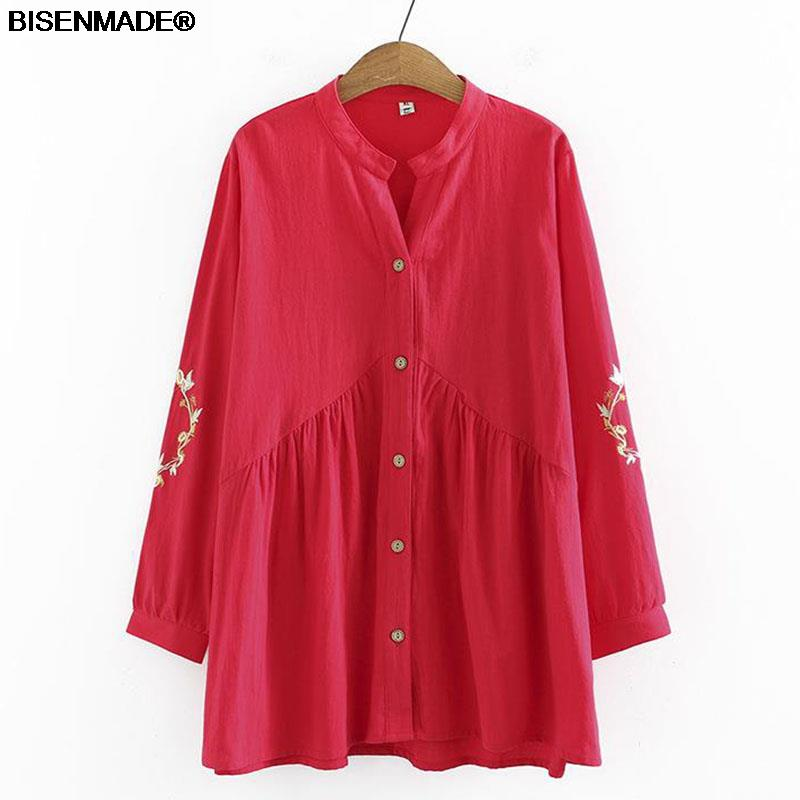 Women Clothing Blouses & Shirts Plus Size 2021 Autumn Winter New Casual Embroidered Washed Cotton Long Sleeve Female Tops 8115