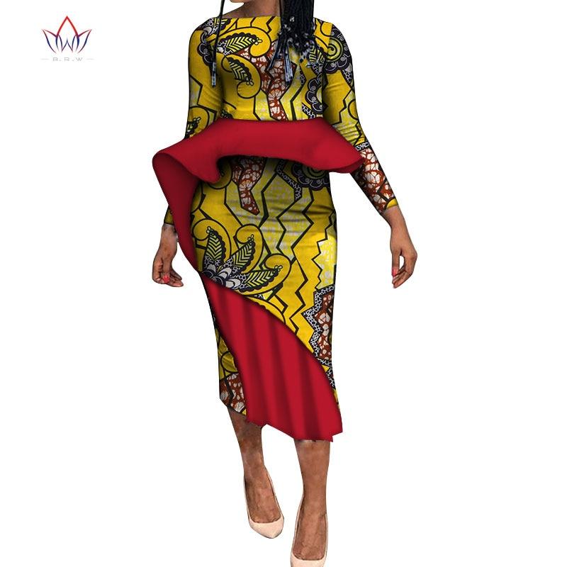 2020 new africa clothing dashiki for women ankara african dress bazin riche o-neck long sleeve print dress ladies clothes WY5258 недорого